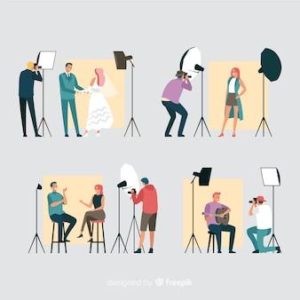 Kolekcja pracujących fotografów płaskich