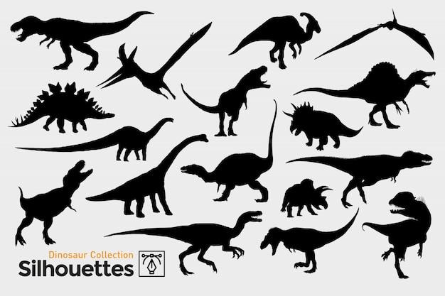Kolekcja prehistorycznych sylwetek dinozaurów.