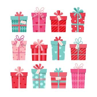 Kolekcja prezentów na walentynki, zestaw różnych pudełek. ilustracja w stylu płaski