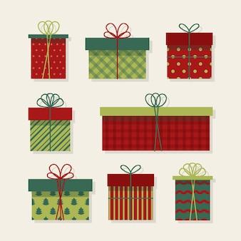 Kolekcja prezentów świątecznych w płaskiej konstrukcji