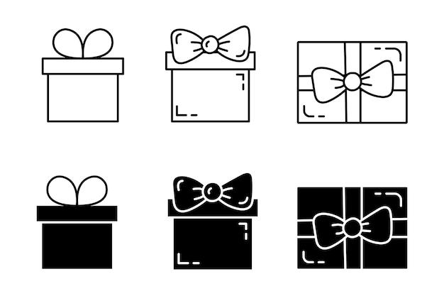 Kolekcja prezentów w stylu liniowym o konturowym. kupon sprzedaży, pudełko upominkowe. edytowalna ikona obrysu. ilustracja wektorowa.