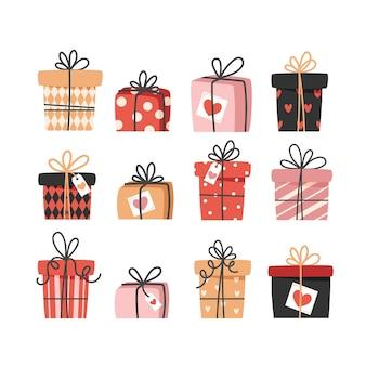Kolekcja prezentów walentynkowych na białym tle