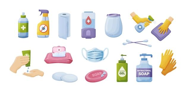 Kolekcja produktów higienicznych. osobiste narzędzia do czyszczenia, prania i ochrony antybakteryjnej