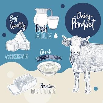 Kolekcja produktów mlecznych. krowa, produkty mleczne, ser, masło, śmietana, twaróg, jogurt