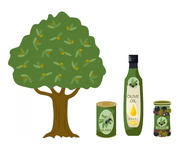 Kolekcja produktów z oliwek. drzewo oliwne, olej, butelki ilustracyjne. butelka oliwy z oliwek, butelka pojemności i oliwy z puszki