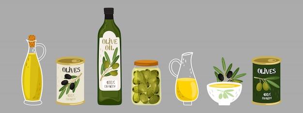 Kolekcja produktów z oliwek. oliwa z oliwek, gałęzie, butelki ilustracja