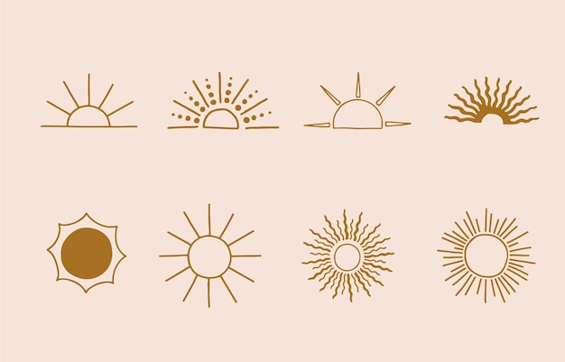 Kolekcja projektów linii ze słońcem