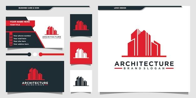Kolekcja projektów logo architektury budynku z nowoczesną koncepcją i wizytówką