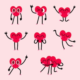 Kolekcja projektowa postaci słodkie serce