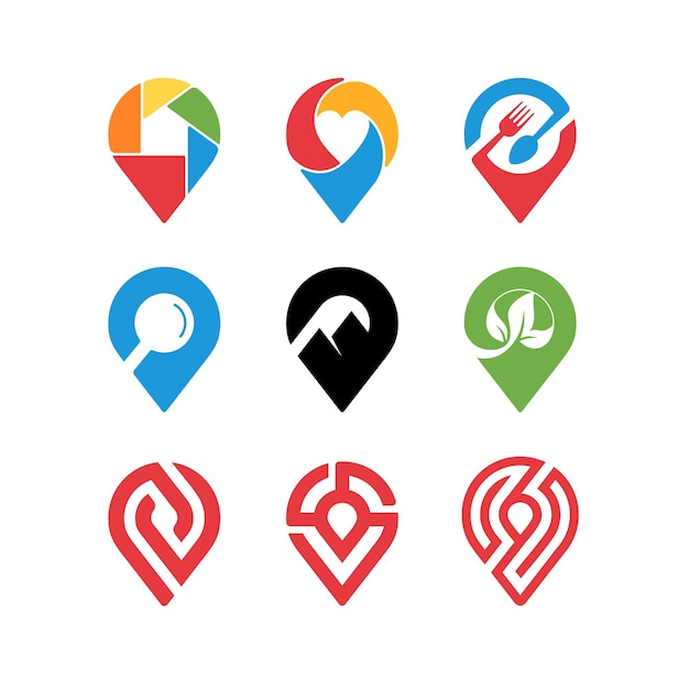 Kolekcja projektowania ikony pinezki