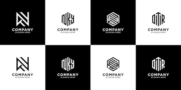 Kolekcja projektowania logo monogram. kreatywne logo początkowej litery dla butiku marki odzieżowej itp