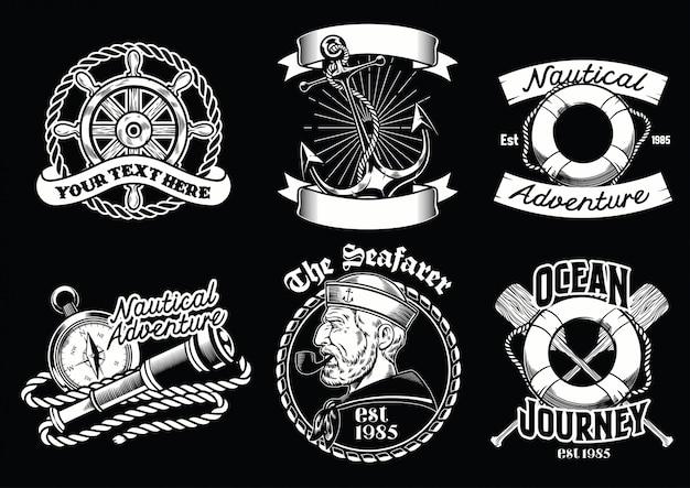 Kolekcja projektowania odznak koncepcji żeglarskiej