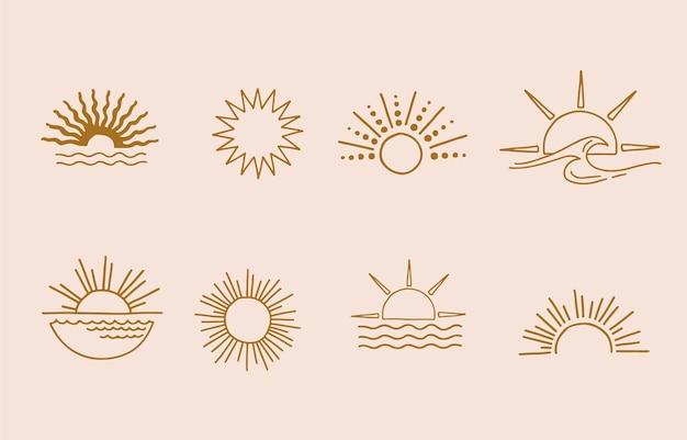 Kolekcja projektu linii ze słońcem. edytowalna ilustracja wektorowa na stronie internetowej, naklejki, tatuaż, ikona