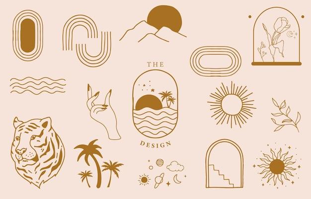 Kolekcja projektu linii ze słońcem, morzem, falą. edytowalna ilustracja wektorowa na stronie internetowej, naklejki, tatuaż, ikona