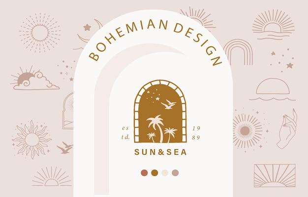 Kolekcja Projektu Linii Ze Słońcem, Morzem, Falą. Edytowalna Ilustracja Wektorowa Na Stronie Internetowej, Naklejki, Tatuaż, Ikona Premium Wektorów