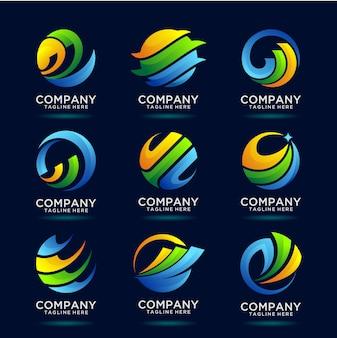 Kolekcja projektu logo globalnego biznesu finansowego