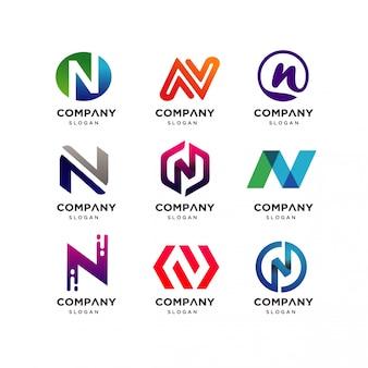 Kolekcja projektu logo litery n.