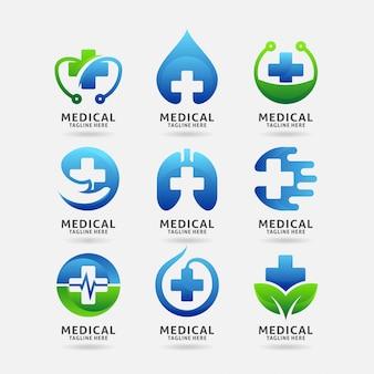 Kolekcja projektu logo medyczne