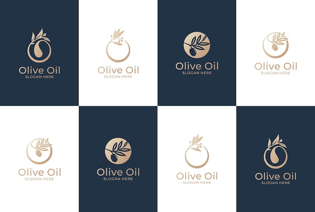 Kolekcja projektu logo oliwki. naturalny olej i zdrowy produkt.