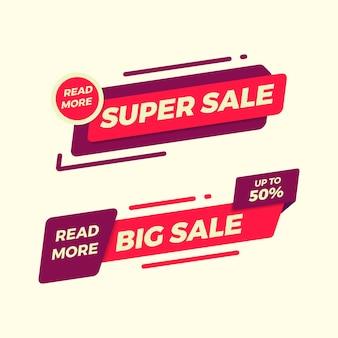 Kolekcja prostego płaskiego sztandaru sprzedaży na reklamę i promocję