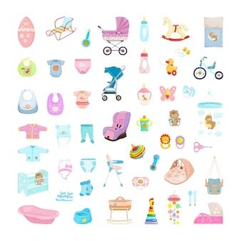 Kolekcja przedmiotów dla niemowląt. zabawki, łóżeczka, ubranka i wózki dla noworodków.