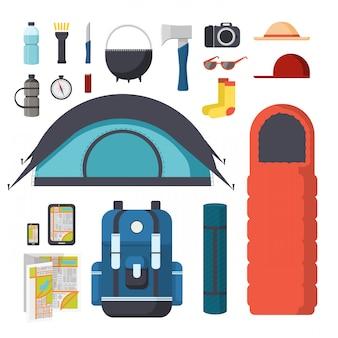 Kolekcja przedmiotów do wędrówek i biwakowania. zestaw podróżny - namiot, śpiwór, mata, gadżety, mapa. turystyczny plecak turystyczny z rzeczami. zbiór rzeczy dla turystyki w przyrodzie.