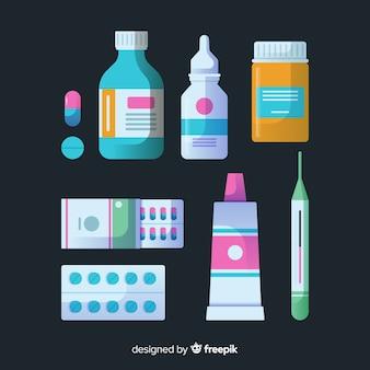 Kolekcja przedmiotów farmaceuta płaskie