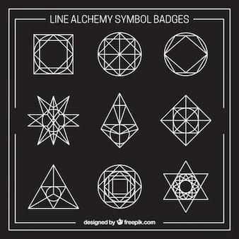 Kolekcja przedstawionym alchemii symbol