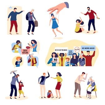 Kolekcja przemocy z ludźmi na charakter konflikt ręcznie rysowane na białym tle.