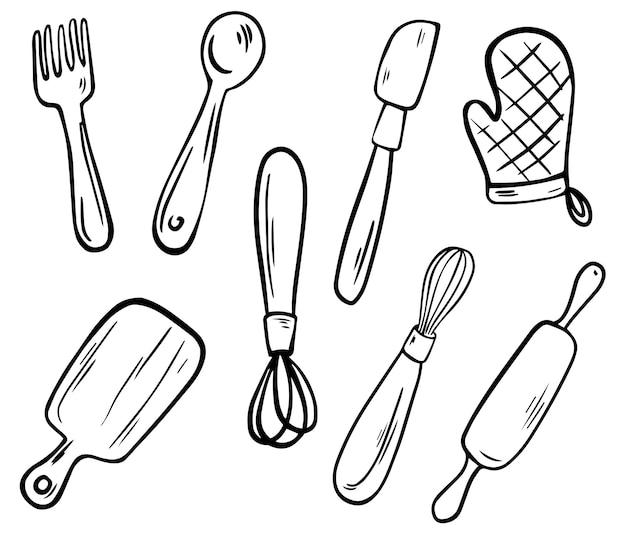 Kolekcja przyborów kuchennych. narzędzia kuchenne, grafika liniowa. widelec, nóż, garnek, uchwyt, trzepaczka, łyżka, wałek do ciasta i deska do krojenia. ręcznie rysowane ilustracji wektorowych.
