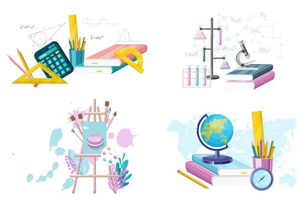 Kolekcja przyborów szkolnych. matematyka. geografia, chemia i materiały malarskie ustawiają płaski styl. dania główne