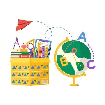 Kolekcja przyborów szkolnych w opakowaniu kartonowym, książka, notatnik, długopis, plecak, linijka. wektor powrót do szkoły tło z papeterii. akcesoria biurowe.