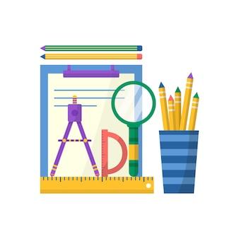 Kolekcja przyborów szkolnych z książką, notatnikiem, długopisem, linijką, zestawem pędzli i farb. wektor powrót do szkoły tło z papeterii. akcesoria biurowe.