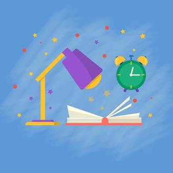Kolekcja przyborów szkolnych z książką, notatnikiem, książkami, lampą. wektor powrót do szkoły tło, plakat z papeterii. akcesoria biurowe.
