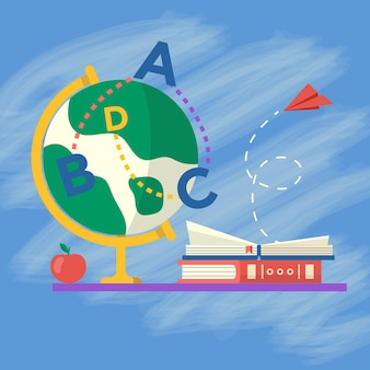 Kolekcja przyborów szkolnych z książkami, kulą ziemską i jabłkiem na stole. wektor powrót do szkoły tło z papeterii. akcesoria biurowe.