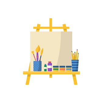 Kolekcja przyborów szkolnych z pędzlem i farbami. wektor powrót do szkoły tło z papeterii. akcesoria biurowe.
