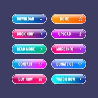 Kolekcja przycisków cta w kolorze gradientu