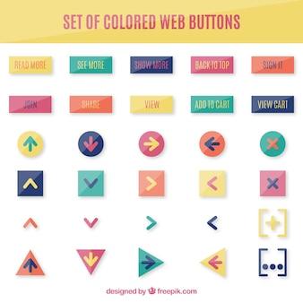 Kolekcja przycisków internetowych w kolorach