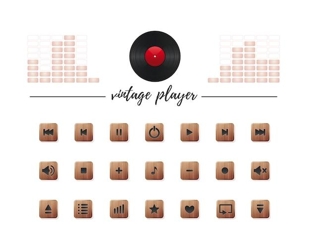 Kolekcja przycisków multimedialnych dla odtwarzacza audio w stylu vintage.