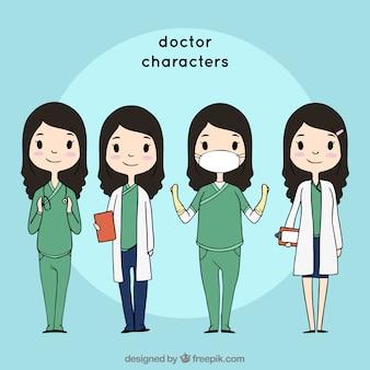 Kolekcja przyjaznych postaci kobiet lekarza
