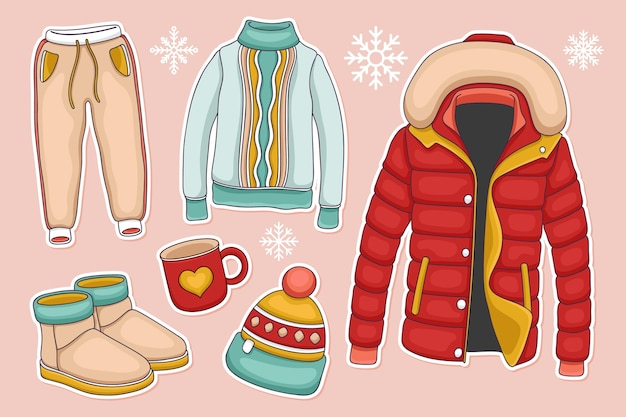 Kolekcja przytulnych zimowych ubrań i niezbędnych akcesoriów