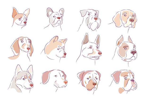 Kolekcja psów. zestaw szczeniąt.