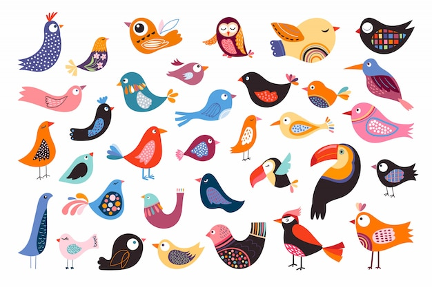 Kolekcja ptaków z różnych abstrakcyjnych elementów dekoracyjnych, na białym tle