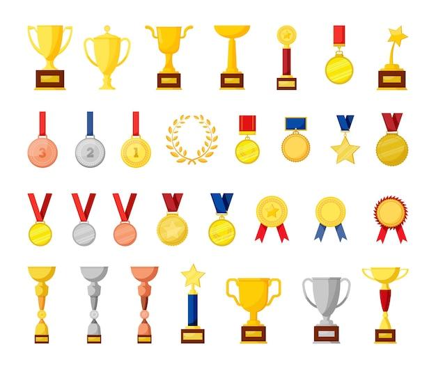 Kolekcja pucharów i medali. nagrody sportowe.