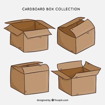 Kolekcja pudeł kartonowych