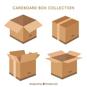 Kolekcja pudełek kartonowych do wysyłki w stylu płaski