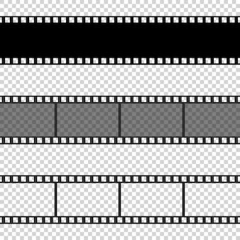 Kolekcja pustych klatek filmowych o różnym kształcie.