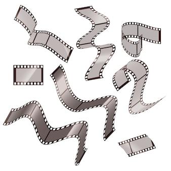 Kolekcja pustych ramek z taśmy filmowej o innym kształcie. ilustracja na białym tle.