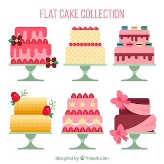 Kolekcja pyszne ciasta w stylu płaski