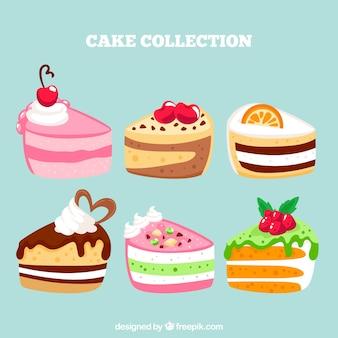 Kolekcja pyszne ciasta w stylu wyciągnąć rękę